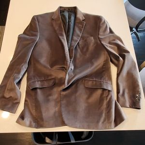 Kenneth Cole pewter gray velvet blazer 44L